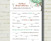 "MAD LIBS - Bridal Shower edition - ""Love Birds"" - Rust color"