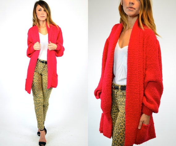knitted RED HOT oversized grandad cozy CARDIGAN duster, one size
