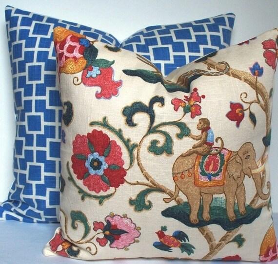 SUZANI Monkey circus elephant Decorative pillow cover Kaufmann designer red blue green jade throw pillow linen floral design