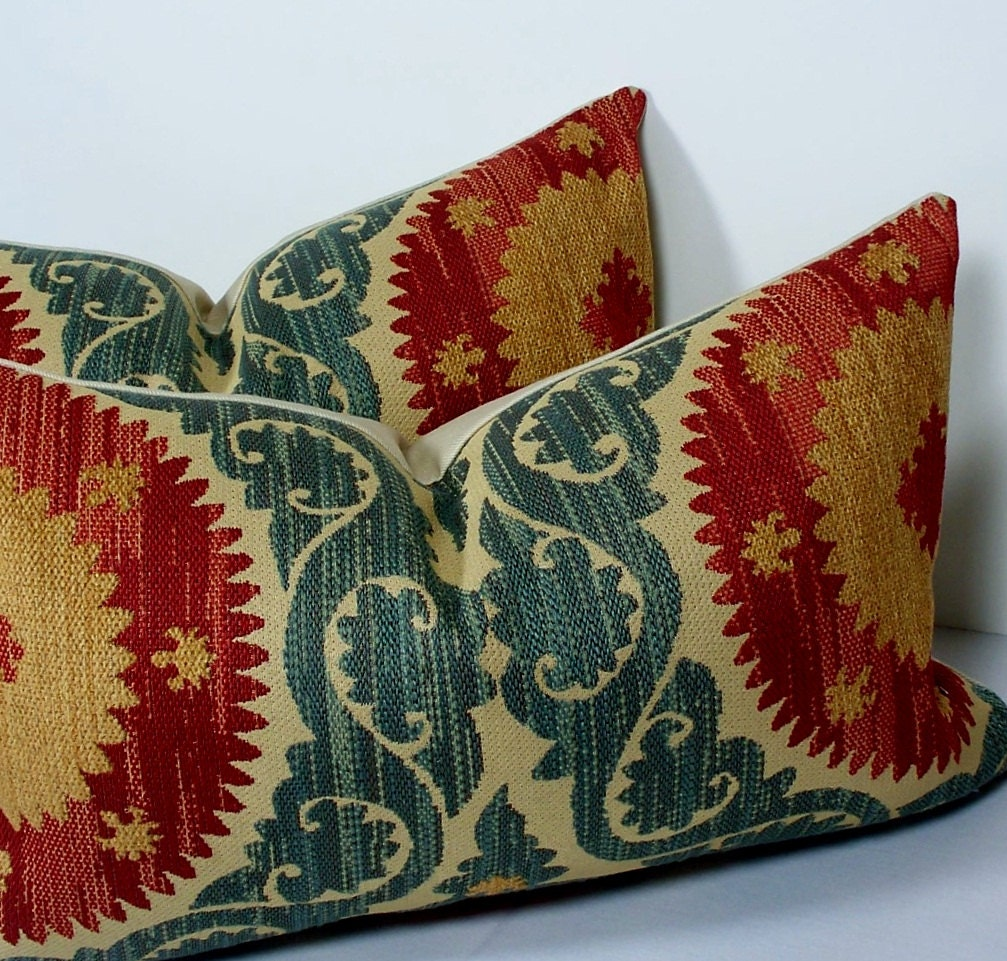 Teal And Red Decorative Pillows : Decorative pillow covers PAIR 12 x 18 suzani throw