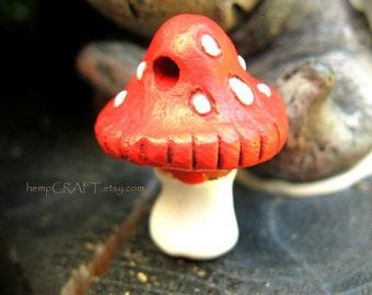 Red Mushroom Bead, Toadstool Focal Bead, 23mm - 1pc