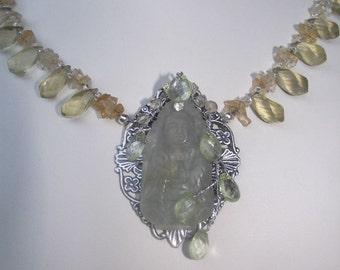 Lemon Topaz  Kwan Yin Necklace