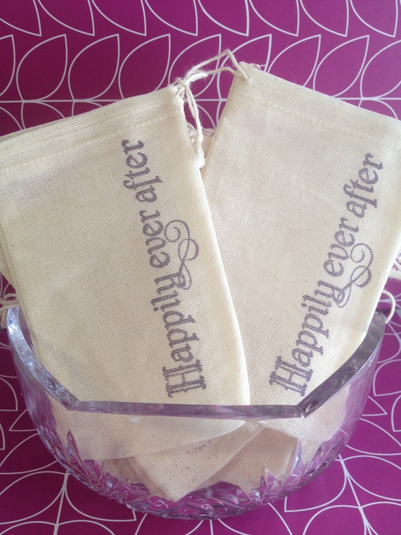 Happily Ever After - Wedding Muslin Favor Candy Treat Bags - Set of 50- and they lived happily ever after the end