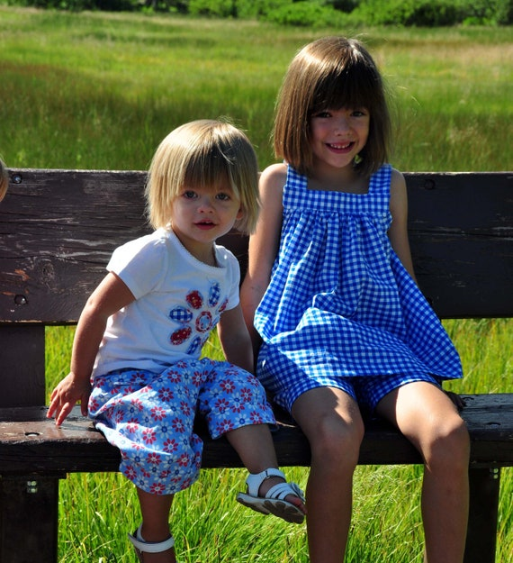 Sewing Pattern: Bloomers and Flutter Top/Dress Summer Set (PDF, e-pattern INSTANT DOWNLOAD)