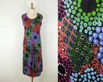 1960s Vintage Black Pop Art Print Midi Shift Dress (M)