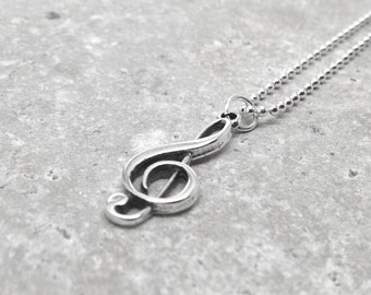 Music Note Necklace, Treble Clef Pendant, Music Jewelry, Music Note Jewelry, Music Note Pendant,  Sterling Silver Jewelry
