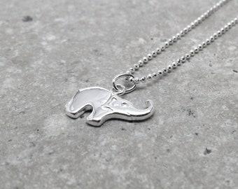 Elephant Necklace, Elephant Jewelry, Elephant Pendant, Small Elephant Necklace, Sterling Silver Jewelry, Sterling Silver Elephant Necklace