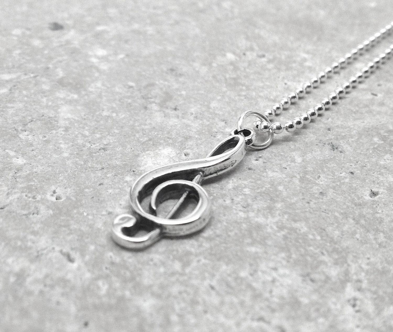 note necklace treble clef pendant jewelry
