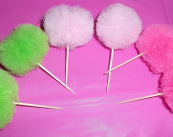 Set of 24 Mini Tulle Pom Pom cupcake Toppers (Any Color)