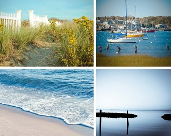 Beach prints - Set of 3 - Cape Cod - Fine art travel photos - gate, ocean wave, harbor, boats -  Home Decor, Corporate art - blue