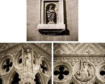 Italy prints - Set of 3 - Angels, Madonna - Sepia 5x5s - Fine art travel photography -  architectural artifacts