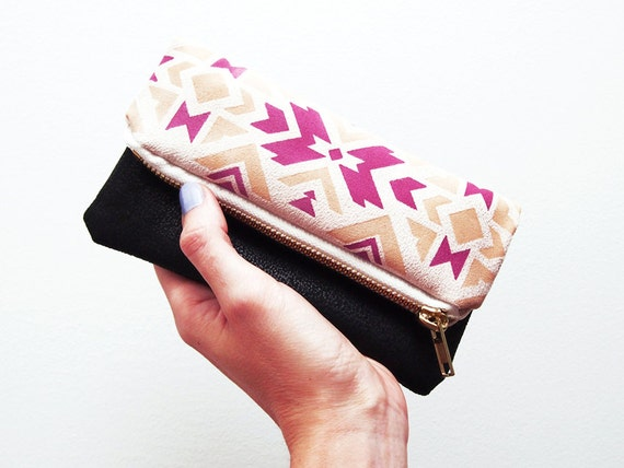 Tribal navajo Zipper pouch Beige peach and pink fold over zip clutch suede fabric with ethnic handpainted pattern