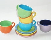 Gibson Child's Tea Cups and Saucers - Bright Colors, Tea Party