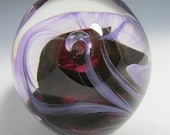 Bubble Paperweight - Cranberry Pink Paperweight - Paperweight - Bubbles in Glass