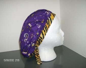 LSU Bandana and Tiger Stripes Bouffant Surgical Scrub Cap