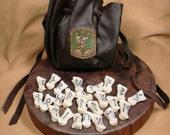 Reserved: Futhark Deer Bone Rune Set  with  Dark Brown Deerskin Bag High Quality heathen norse pagan