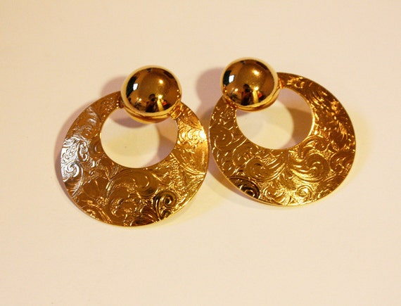 80s Gold Hoop Stud Earrings