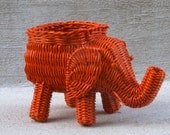 Orange Elephant Basket Planter - Fun Pop Art Decor - Nursery Decor