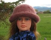 Knit Felt Brimmed Bowler Crusher Mauve Rose Hat Mohair Wool