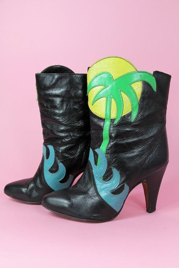 OOAK ZODIAC PalmTree Boots Black Leather - FIERCE Clothing by TatiTati Vintage on Etsy