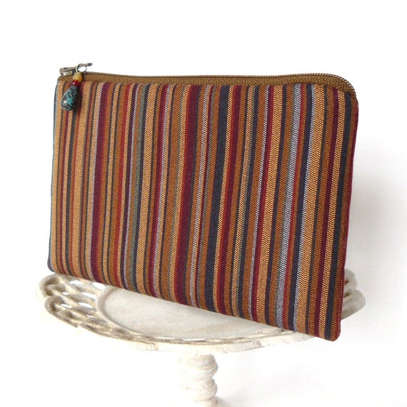 Small Zipper Pouch, Change Purse, Coin Pouch - Terra Stripe in Spice and Gold