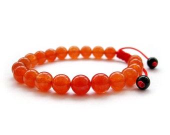 8mm Reddish Red Stone Beaded Bracelet Charm Beads Adjustable Bracelet  T2845
