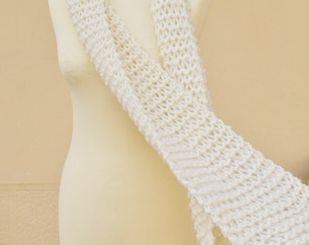 Extra Long Handknit Scarf Tassels - Off White Scarf - Chunky Knit Scarf - 100% Wool Pure Wool - Choice of Trending Colors