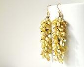 Statement earrings, vintage bead earrings, 1960s earrings, aurora borealis, golden, dangle earrings, nicobel