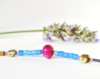 Mixed media bracelet, stacking bracelet, vintage bead bracelet, repurposed bead bracelet, pink and blue bracelet, by nicobel