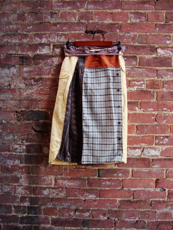 Harvest Gold Wrap Skirt/ Autumn Wrap Skirt/ Womens Skirt/ Upcycled Clothing