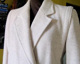 Womens Winter Coat, Herringbone Coat, Cream Winter Coat, Double Breasted Coat, Vintage Wool Coat, Ladies Coat, Size 10 Coat, Cream Coat