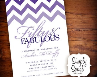 Ombre Chevron 50th Birthday Party Invitation