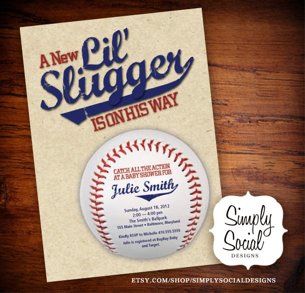little slugger baseball theme baby shower by simplysocialdesigns