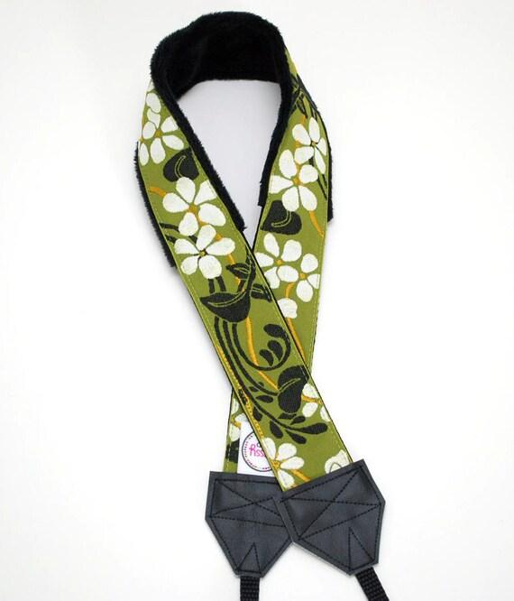 Green Floral Camera Strap - Green & White Blossom