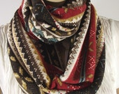 Sweater Infinity Scarf, Cotton Jersey, Knit Scarf, Circle Scarf, Brown Red Mustard White Blue Cocoa, So Soft