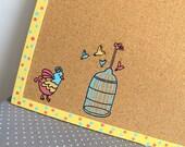 Decorative Memo Cork Board- Yellow, pink and blue bird - Children hand painted message board, Bulletin Board, kids cork board