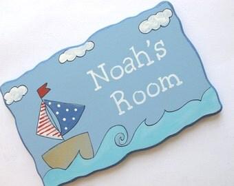Personalized kids Door sign- kids wall art, sailing door sign for children's room, children decor, kids sign, boys sign