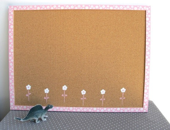 Memo Cork Board- white and pink flowers memo board - Custom order for Ashley