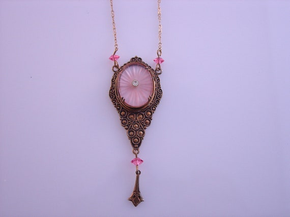 RESERVED for PRETTYSPIGGIY Pink Camphor Glass Necklace Pididdly Links