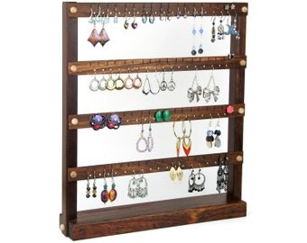 Caribbean Rosewood Jewelry Holder - Earring Display Stand, Jewelry Display, Wood.  Holds 72 Pairs of Earrings. Earring Holder