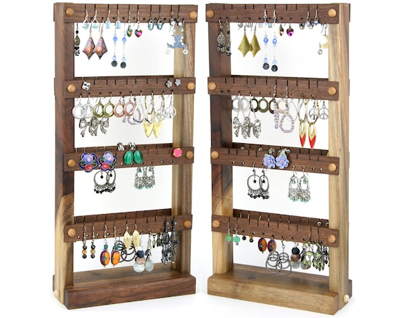 Earring Holder Stand - Jewelry Display, Black Walnut, Wood, Double-Sided. Holds 80 pairs. Jewelry Rack - Earring Organizer