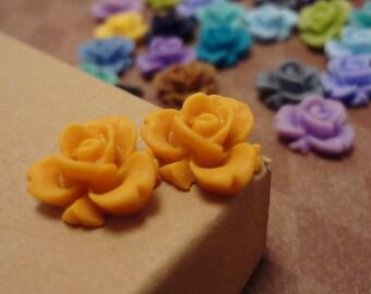20pcs (Matte Tangerine) Rainbow Iris Rose -CMVision Exclusive-11.5mm Resin Flower Rf05 10