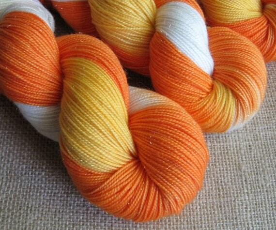 Candy Corn - SW Merino, Nylon & Stellina Fingering Sparkle Yarn - Hand Dyed - 438 yds