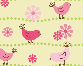Birds and Flowers on path - Cotton Flannel Fabric - Yellow - BTY