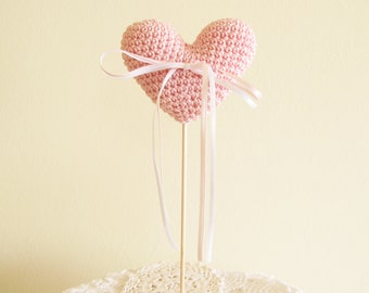 Crochet Heart Wedding Cake Topper, Soft Pink Wedding or Home Decor