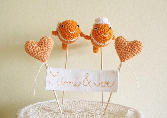 Fishing Wedding Cake Topper, Clown Fish Cake Topper, Name Cake Topper, Animal Cake Topper