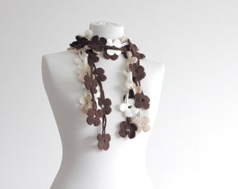 Women Lariat Crochet Scarf, Crochet necklace, Lariat scarf, Cream, natural brown floral scarf, Flowers scarf ladies, leaf scarf