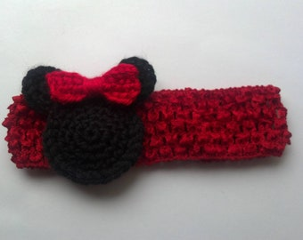Minnie Mouse Crocheted headband Mickey Mouse for New born, Baby girl Headband Photography Prop