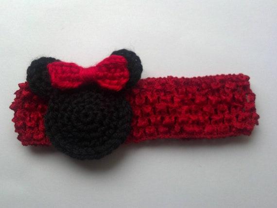 Diadema ganchillo de Minnie Mouse Mickey Mouse busca nuevo nacido, niña diadema fotografía Prop