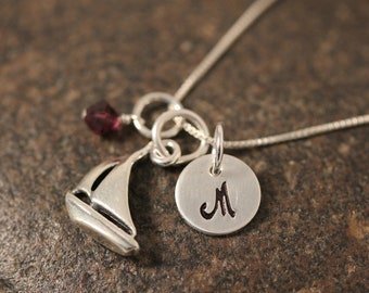 Sterling Silver Mini Initial Hand Stamped Sailboat Necklace